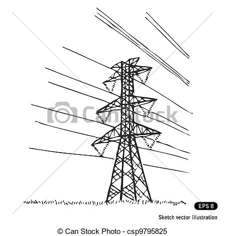Drawn power line poste Isolated Stock Powerline Image Royalty