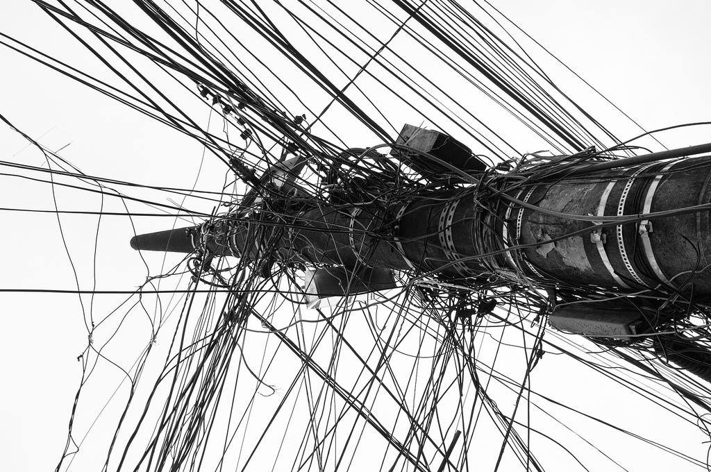 Drawn power line poste Blackandwhite of Mind poste World's