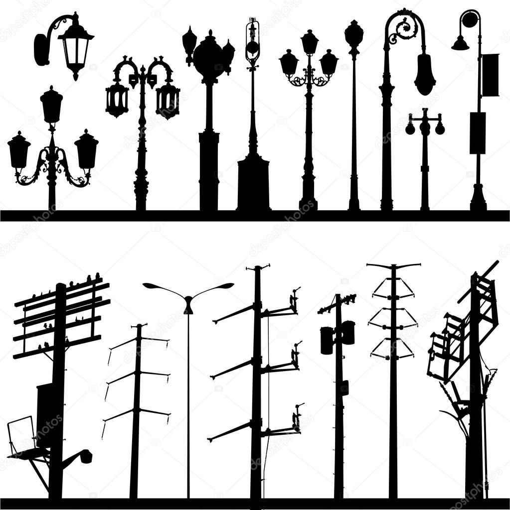 Drawn power line poste Vector #6825630 lamppost Vector line