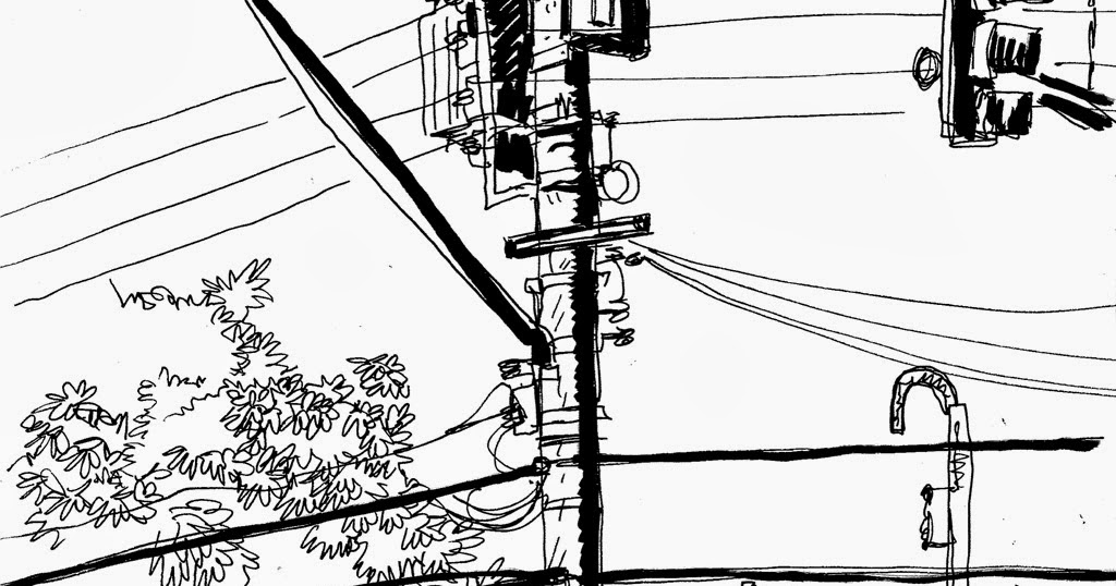 Drawn power line poste Paulo  Sketchers suburb Urban
