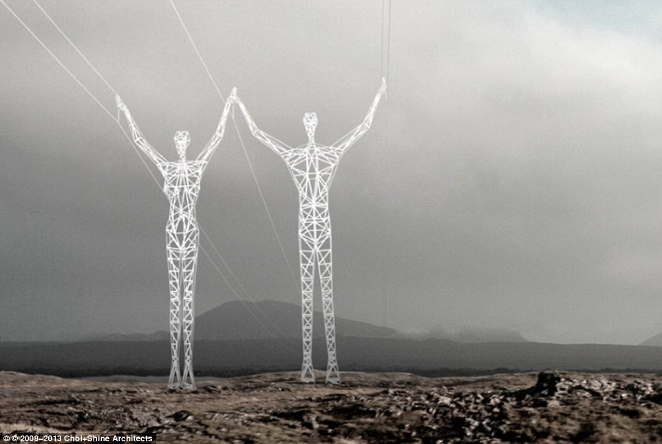 Drawn power line pylon Artistic stand pylons for electricity