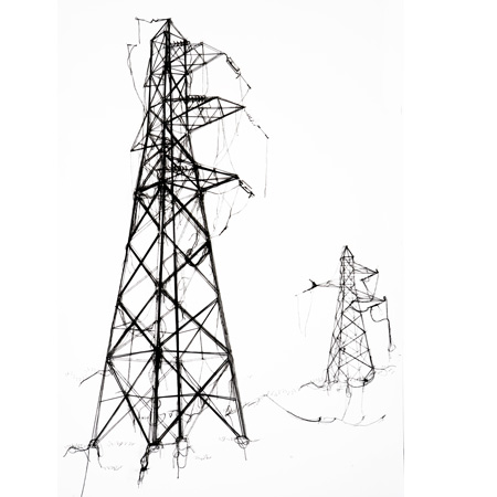 Drawn power line pylon Of drawing electricity Pins pylons