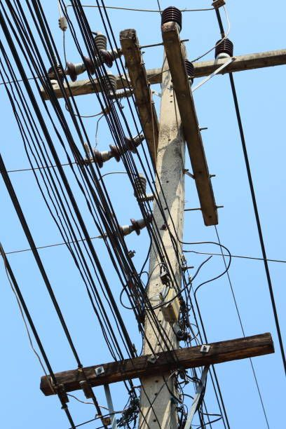 Drawn power line telephone wire Lines without power on era