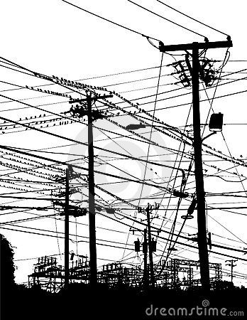 Drawn power line telephone wire On wires images electric Pinterest