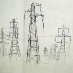 Drawn power line transmission line A Smyth's drawing cool 'Pins