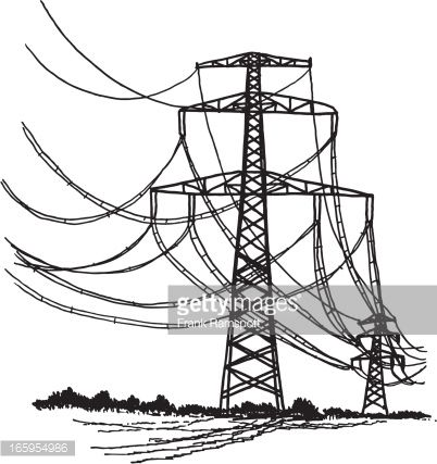 Drawn power line transmission line Line drawn and Black of