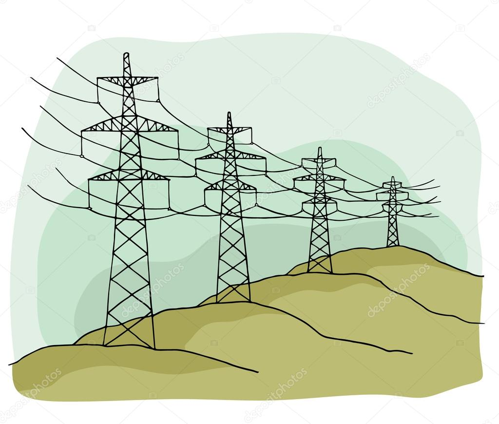 Drawn power line vector On land Vector drawn lines