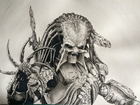 Drawn predator ART Original a4 watercolor Signed