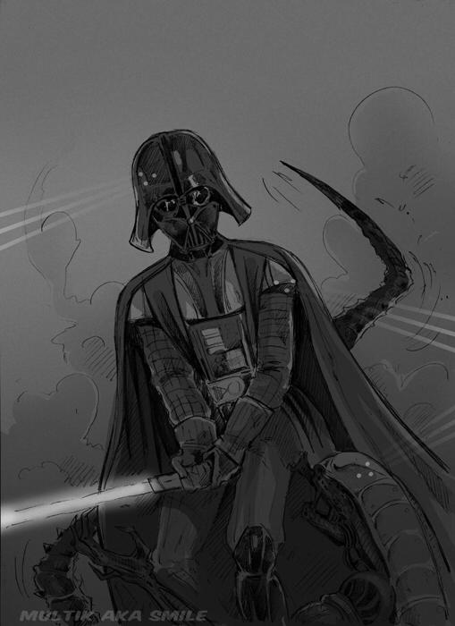 Drawn predator darth vader Vader vs Darth Alien DeviantArt