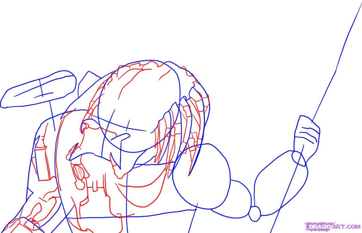 Drawn predator drawing  Alien How fi alien