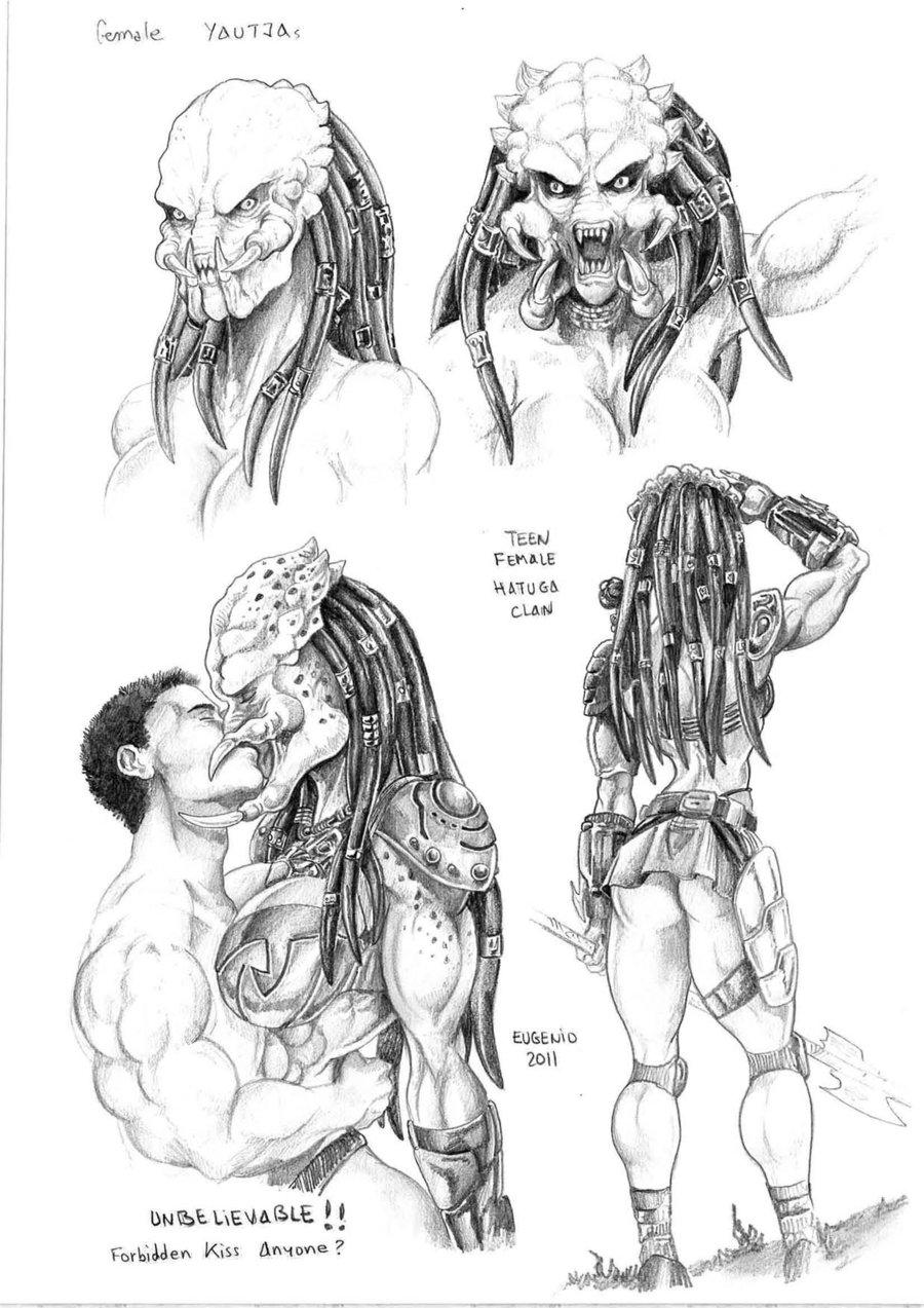 Drawn predator female human Female on study Yautja Female