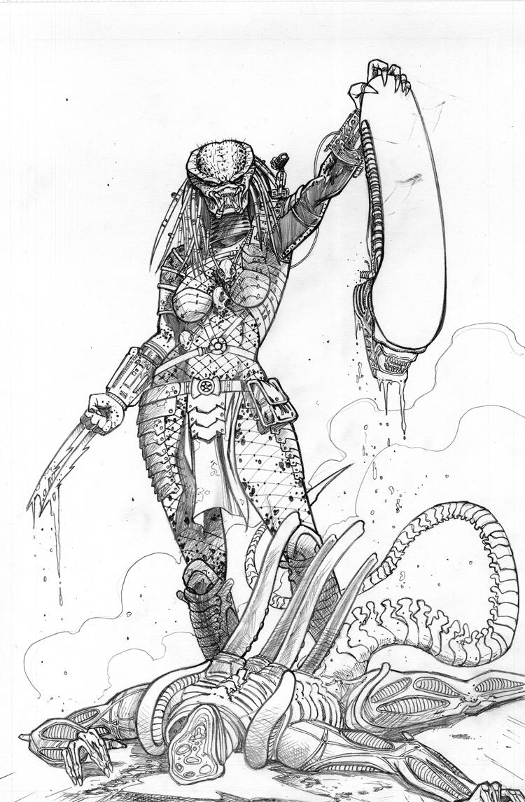 Drawn predator female human Female on 2 Predator Female