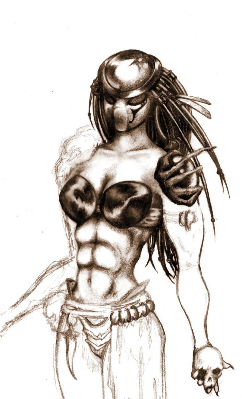 Drawn predator female human  female Ra' seraphxviii by