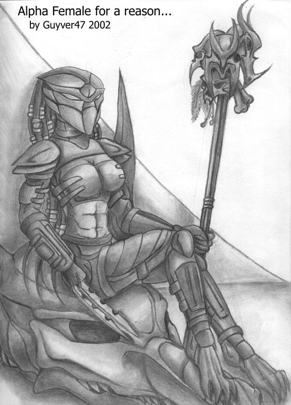 Drawn predator female human Alpha Predator Female on guyver47
