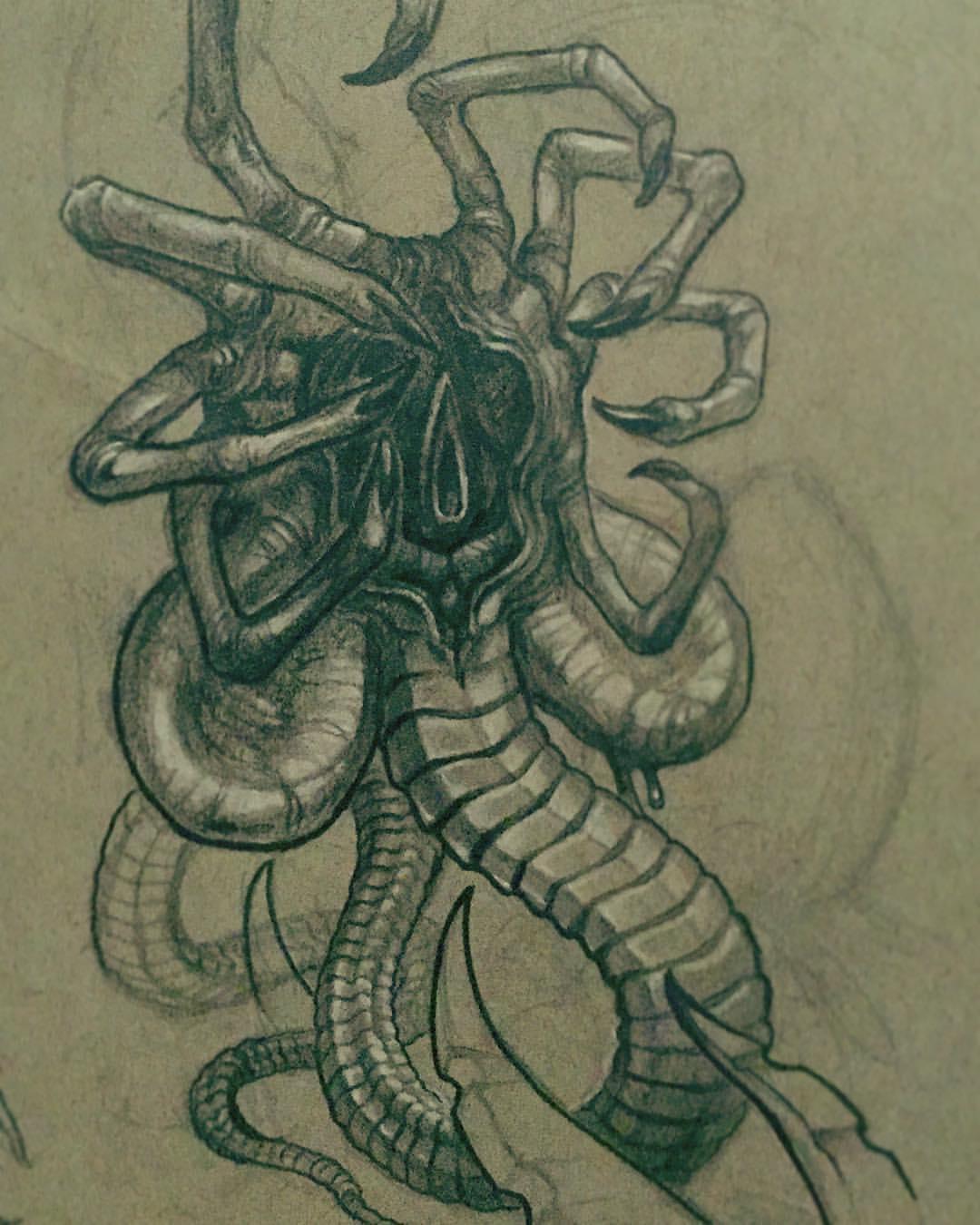 Drawn predator giger Concept Pinterest Xenomorph and Alien