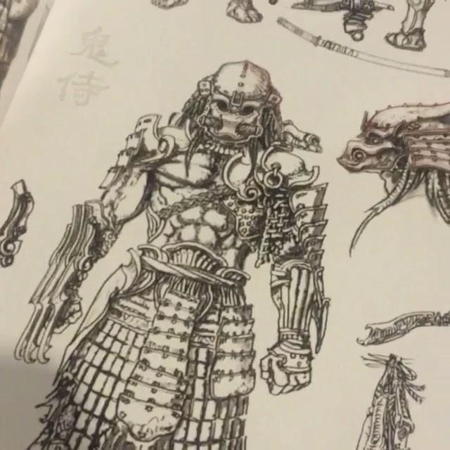 Drawn predator giger Alien on Instagram #samurai #namco