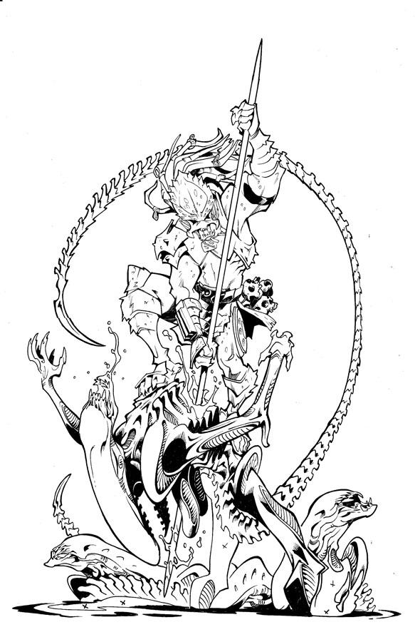 Drawn predator linework Coloring Alphabet Coloring Alien Coloring