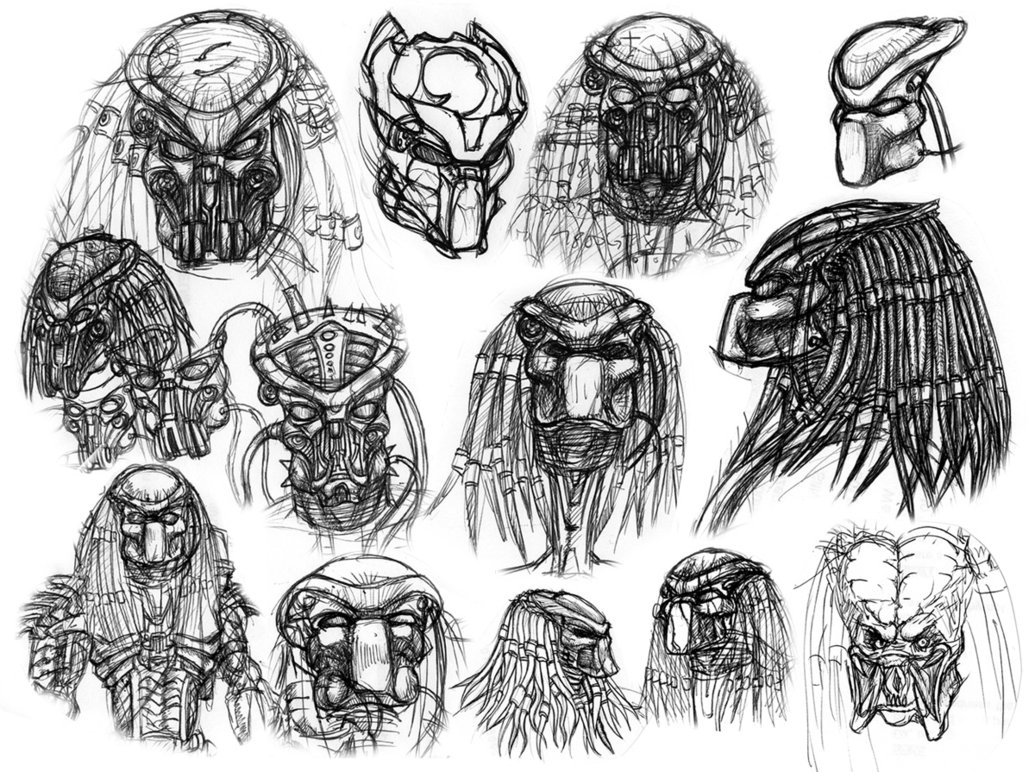 Drawn predator predator helmet Drawings Cool Drawings DrawingsCool Predator