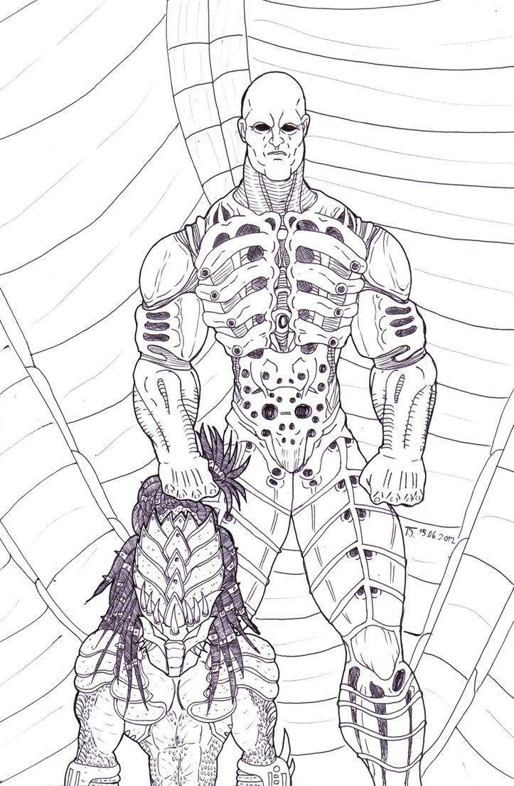 Drawn predator prometheus And Engineer Alien  Predator