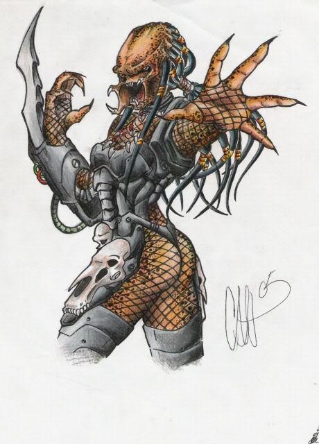 Drawn predator sci fi Fi Predator Female Predator Predators