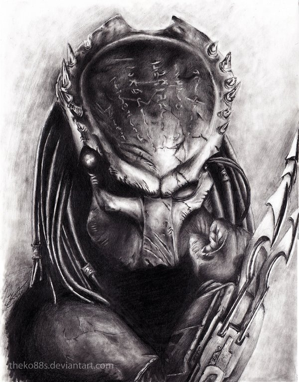 Drawn predator skull Predator drawing Aliens art Concept