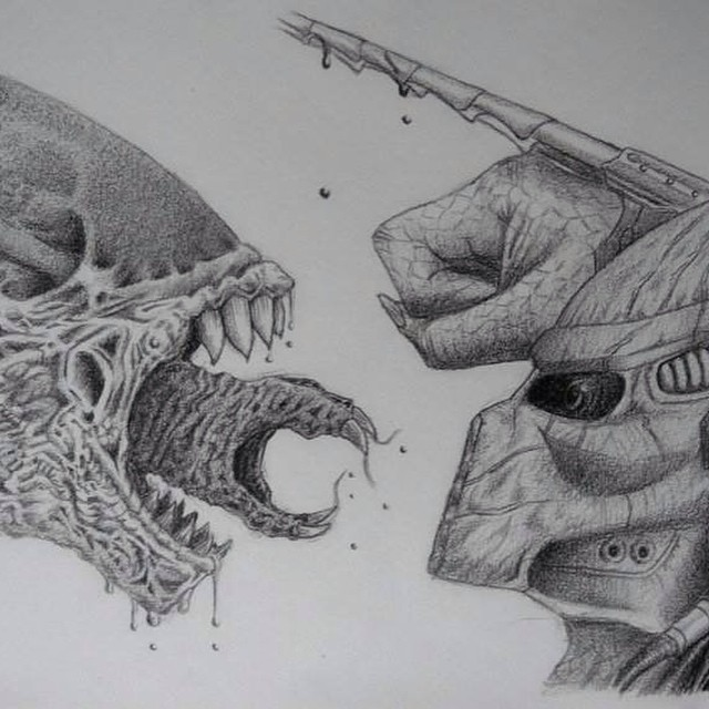 Drawn predator skull #drawing #draw #blackandwhite alien predator