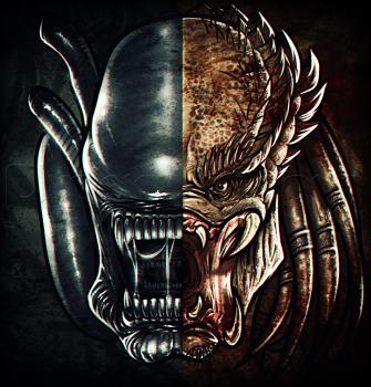 Drawn predator skull Sci vs Alien How Alien