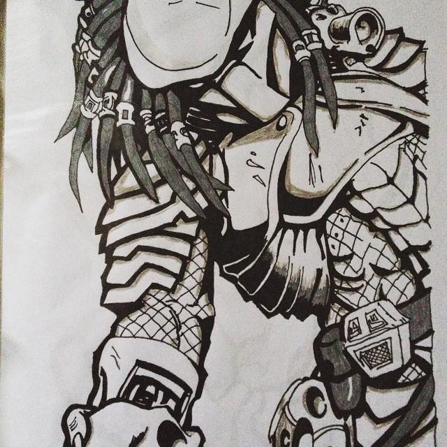 Drawn predator skull #predator #black #sketch predator Instagram