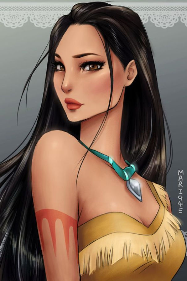 Drawn anime disney princess Pocahontas Characters Bored Panda As