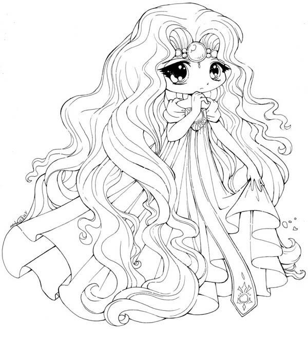 Drawn princess anime Princess Chibi Coloring Chibi right