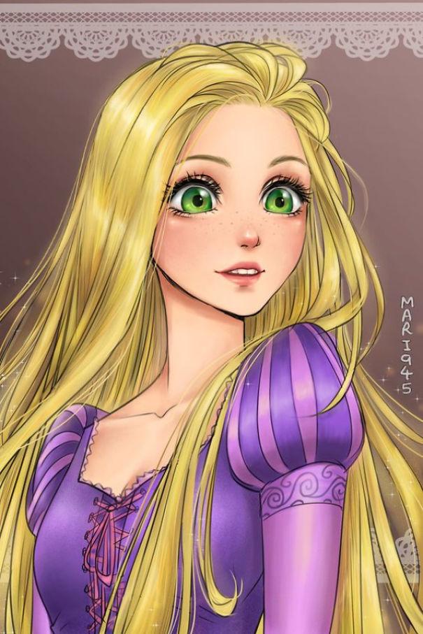 Drawn anime disney princess Rapunzel Characters Bored Panda As