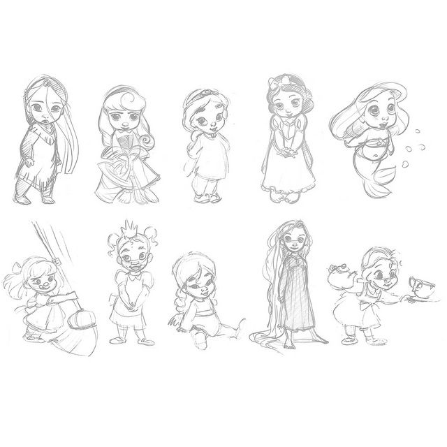 Drawn princess baby Sketches Disney Best babies ideas