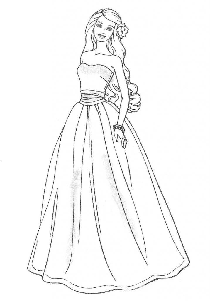 Drawn princess barbie Dress Princess Coloring Barbie Drawing