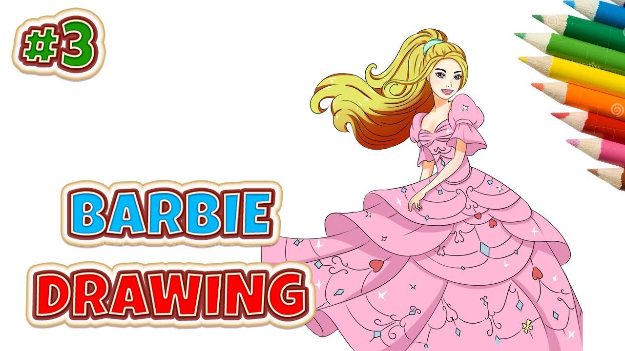 Drawn princess barbie Draw for kids to Barbie
