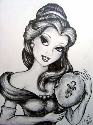 Drawn princess black and white Belle disney 20+ Art Pinterest