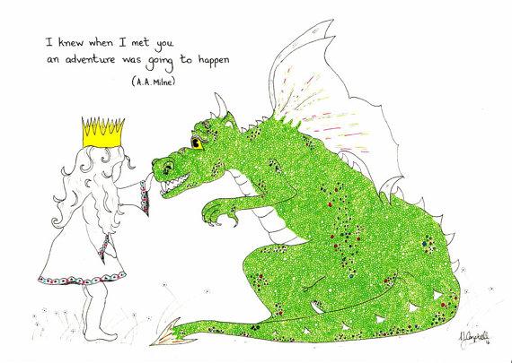 Drawn princess children's Dragon or childrens art print