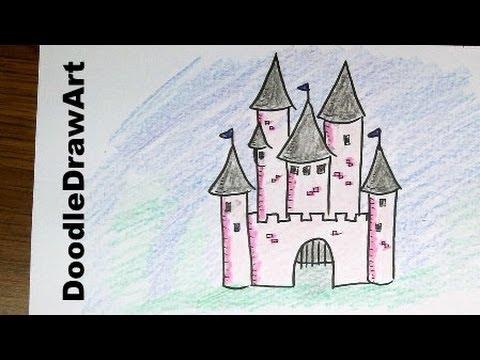 Drawn princess children's Step Drawing: Cartoon Castle How