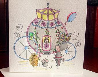 Drawn princess children's Hand original card Watercolour childrens'