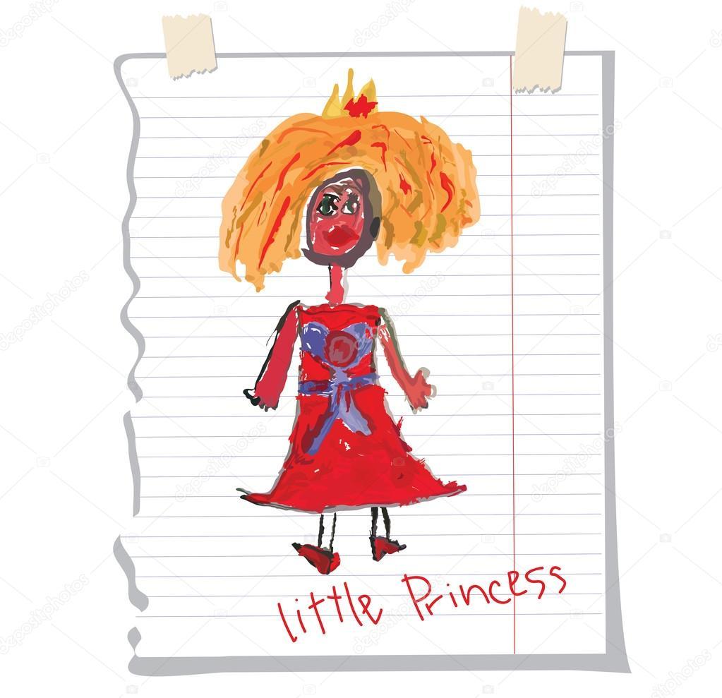 Drawn princess children's Hand A a a Fun