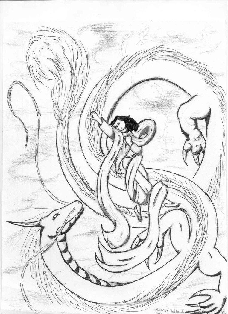 Drawn princess chinese princess Dragon 6WingDragon and Dragon on