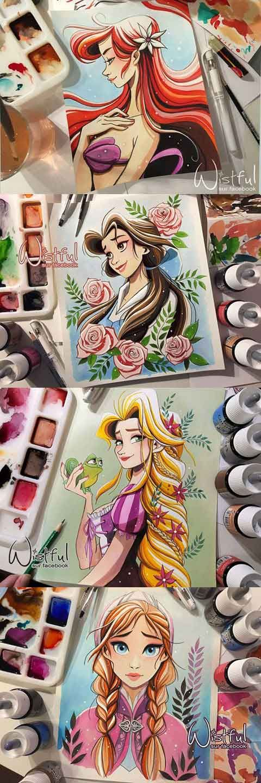 Drawn princess collage Wistful on Aquarelle Four Disney
