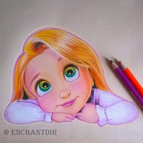Drawn princess color Art  rapunzel princess drawing