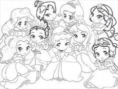 Drawn princess color Baby  Baby disney Disney