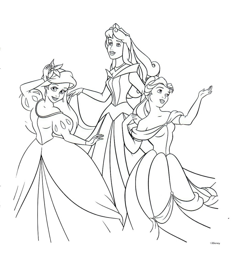 Drawn princess colouring page Disney Disney Pages Printable Coloring