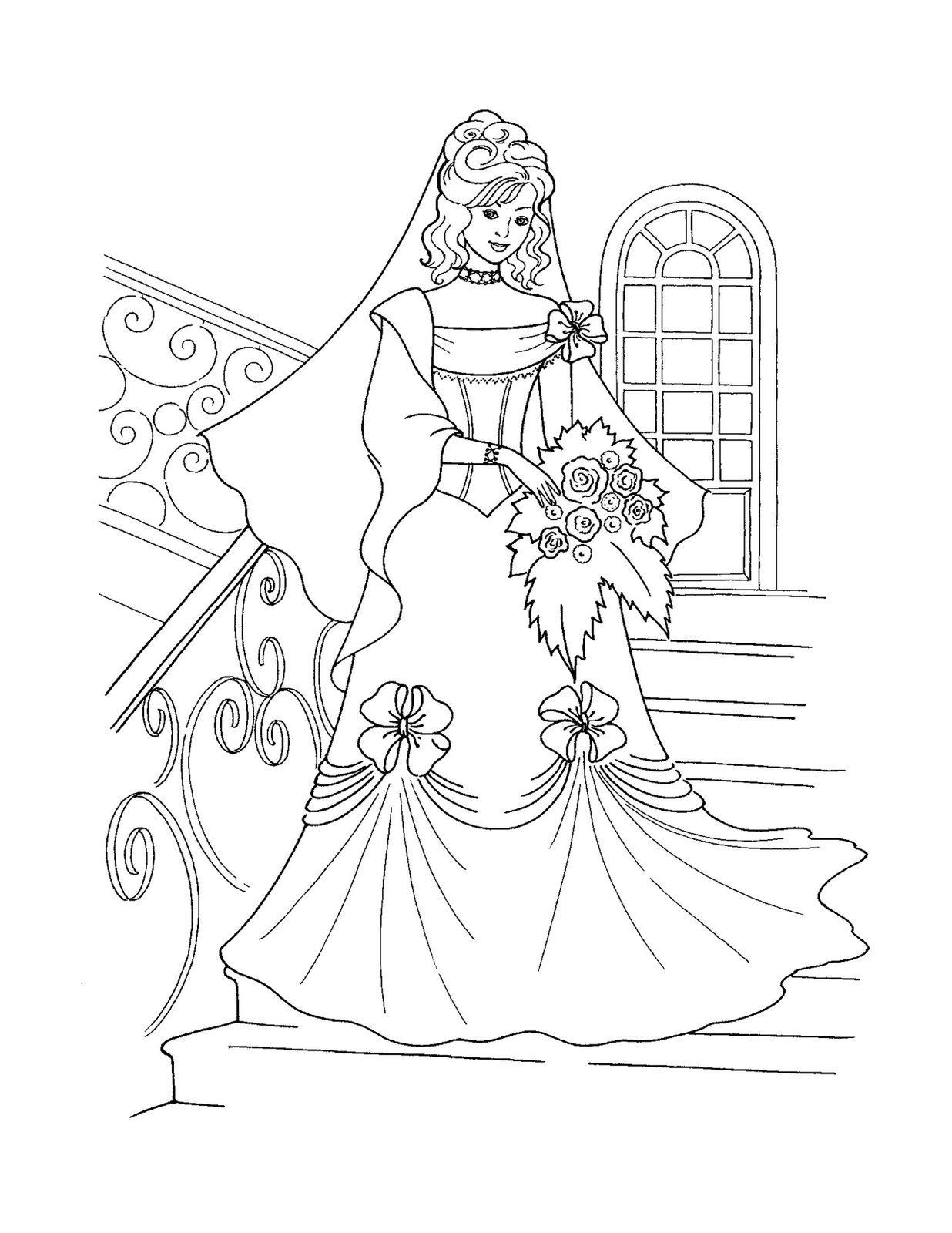 Drawn princess colouring page Printable Disney Coloring Free Castle