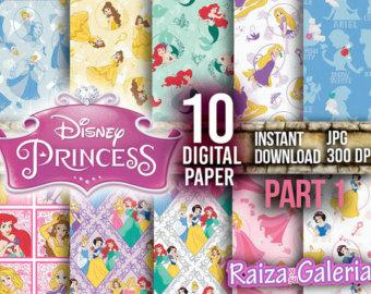Drawn princess digital Hand Instant to Digital Printable