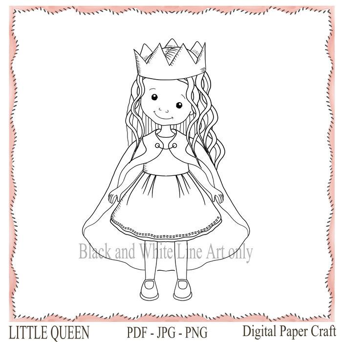 Drawn princess digital Girl Stamp Princess Princess Line