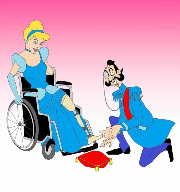 Drawn princess disabled Prosthetic slipper gave Palombo Cinderella's