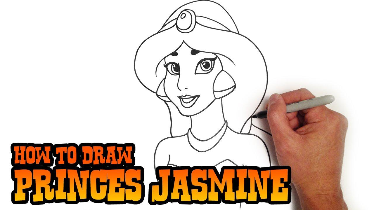 Drawn princess drawing To Draw Jasmine Princess YouTube