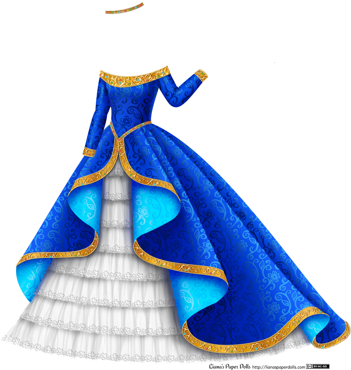 Drawn scroll Blue DOLLS Gown Gown Princess